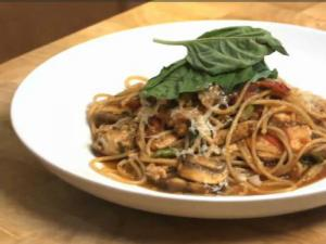 Pan Seared Oregano Chicken and Roasted Vegetable Pasta