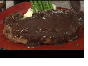 Blackened Steak with Blue Cheese Wine Sauce