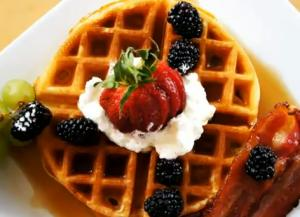 Spiced Waffles with Bacon