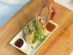 Turkey, Stuffin' & Cranberry Jelly Spring Rolls With Gravy Dipping Sauce