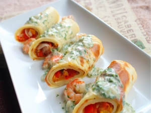 Roasted Vegetable Roulade Pancakes with Shrimp Parsley Cream Sauce