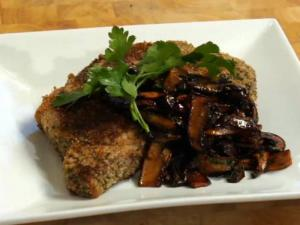 Sicilian Breaded Ribeye with Balsamic Sauteed Mushrooms