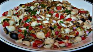 Easy Pasta Salad with Italian Dressing and Lentils