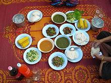 A traditional Thai family meal.