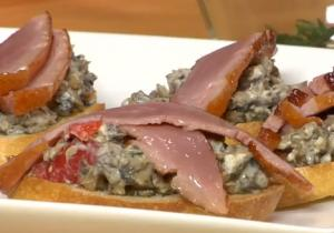 Duck and Mushroom Crostini
