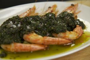 Chef Sisha Ortúzar's Roasted Prawns with Salsa Verde