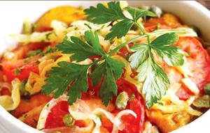 Roasted Bell Pepper and Tomato Gratin
