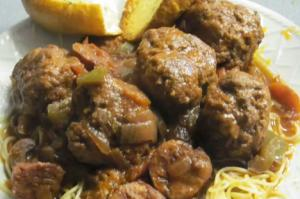 Homemade Cajun Meatballs And Smoked Sausages In Red Sauce
