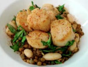 Seared Scallops Over Arugula Lentils And Bean Salad