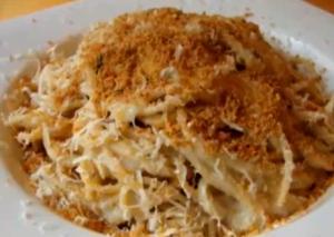 Cauliflower Spaghetti Alfredo With Crispy Parmesan Crumbs