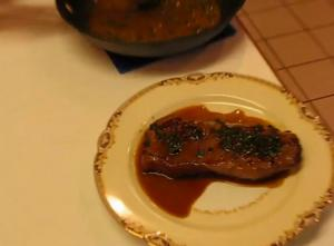 Pan-Fried Peppercorn Steak with Bourbon Sauce