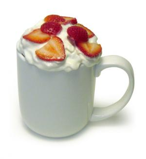 Chocolate-Dipped Strawberry Microwave Mug Cake
