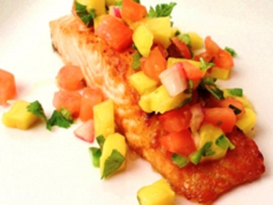 Broiled Salmon with Mango Jalapeno Mint Salsa by Christianne Klein, author of Christianne's Herbal Kitchen: Fresh Herb Recipes for Body and Soul