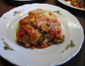 Eggplant with Tomato Sauce and  Parmesan Cheese