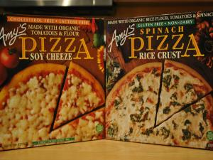 Vegetarian and Vegan Product Review- Amys' Soy Cheese Spinach Rice Crust Pizza