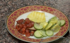 Spicy Chicken With Grilled Pineapple And Tomato Rague