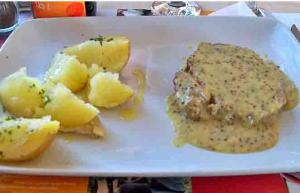Swiss Pork Chops with Mustard Sauce