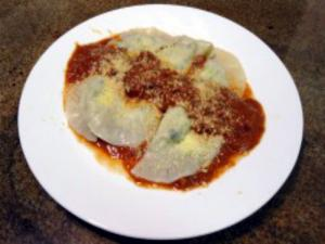 Shrimp Ravioli  with Tomato Vodka Cream Sauce