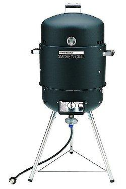 The Brinkmann Smoke'N Grill BBQ unit is a compact yet sturdy smoker com griller