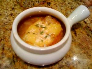 Microwave Onion Gratin Soup