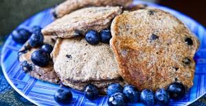 Low fat Vegan Blueberry Pancakes