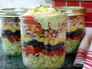 Southwestern Layered Salad & Edible Flower
