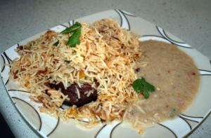 Apricot Biryani With Onion Sauce