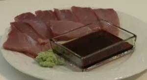 Cutting and Serving Sashimi Bluefin Tuna