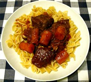 Beef With Apple Carrot And Wine Sauce