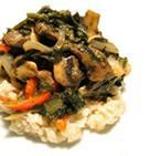 Blood Orange Ginger Teriyaki Beef & Rapini Over Brown Rice Cookin' Greens Rapini