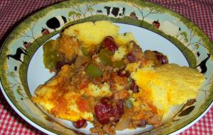 Three Bean And Corn Bread Casserole