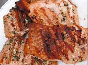 Juicy and Moist Grilled Salmon Steaks with Herb Butter