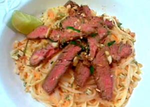 Thai Style Spicy Steak And Rice Noodle Salad