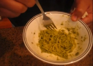 Raw Kelp Noodles with Raw Basil Pesto