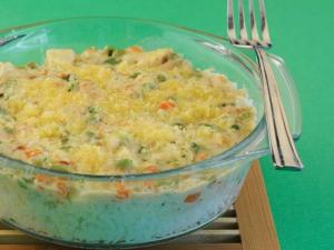 Cheesy Baked Rice with Vegetables by Tarla Dalal