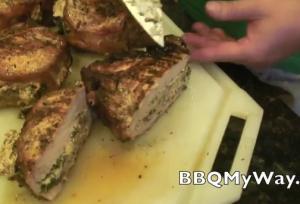 Stuffed and Smoked Bone-In Pork Chop