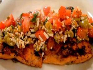Pan Seared Salmon Filets with Tomato, Olive and Salsa Cruda