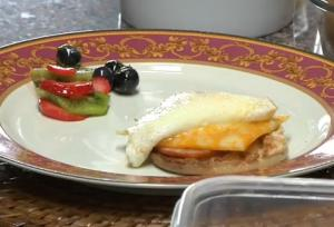 Eggs Benedict with Fruit Salad