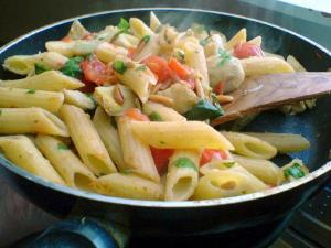 Penne with Sun Dried Tomatoes and Pine Nuts