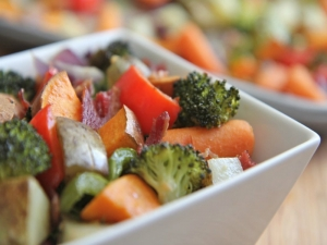 Oven Roasted Vegetables with Bacon ( Easy & Delicious Side Dish)