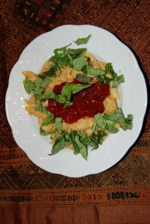 Crab Curry Penne Pasta with Tomato Chutney