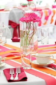 A beautiful bunch of flowers is the best centerpiece for bridal shower table setting.