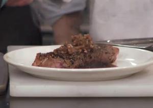 Pan Seared Pepper Steak with Shallot Balsamic Sauce