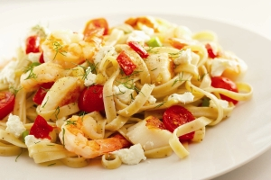 Seafood Pasta Primavera with Goat Cheese