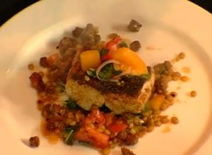 Wild Striped Bass with Braised Greens and Tomato Confit