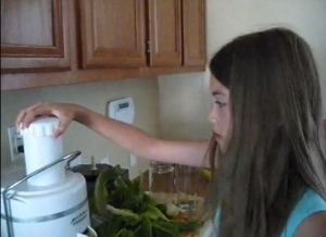 Meg Making Green Veggie Juice