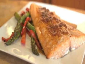 Cedar Plank Salmon with Lemon Glaze and Asparagus