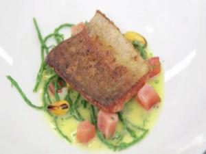 Good Food Ireland - Seared Goatbridge Trout with Broth of Smoked Salmon and Mussels