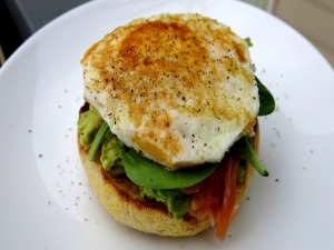 Spicy Avocado & Salmon Toasted Muffins