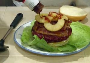 Chicken and Apple Stuffed Smoked Colossal Burgers